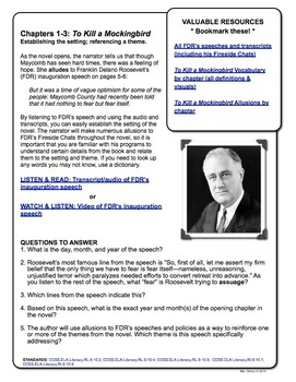 To Kill a Mockingbird Nonfiction Reading Activity: FDR Inauguration Speech