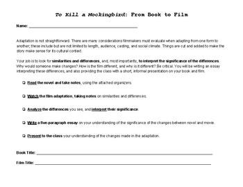 To Kill a Mockingbird Novel Study (Novel-to-Film Adaptation)