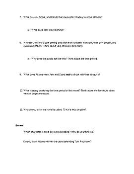 To Kill a Mockingbird Part 1 Quiz