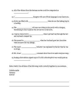 To Kill a Mockingbird Part 1 Vocab Test