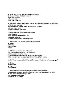 To Kill a Mockingbird Part Two Test