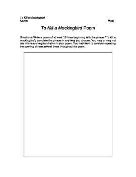 To Kill a Mockingbird Poem Writing Assignment