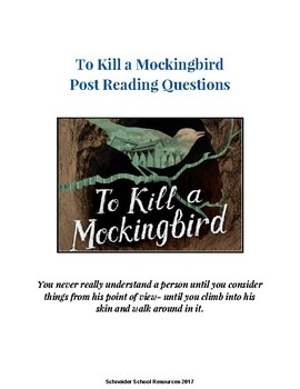 To Kill a Mockingbird Post Reading Questions