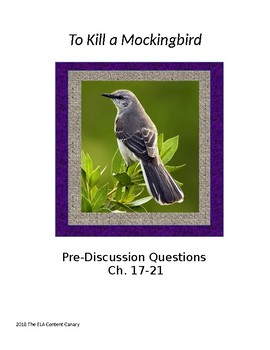 To Kill a Mockingbird Pre-Discussion Questions, Ch. 17-21