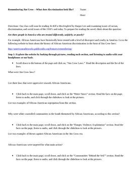 To Kill a Mockingbird Pre-Reading Activities