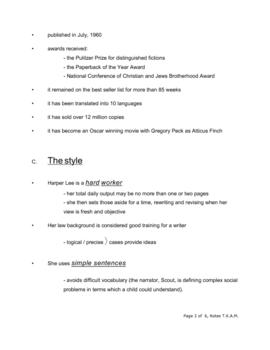 To Kill a Mockingbird - Pre-reading notes