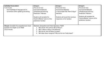 To Kill a Mockingbird - Prediction Lesson Plan