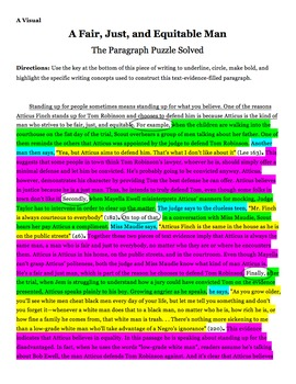Presenting Text Evidence Paragraph Puzzle Chapter 23 To Kill a Mockingbird