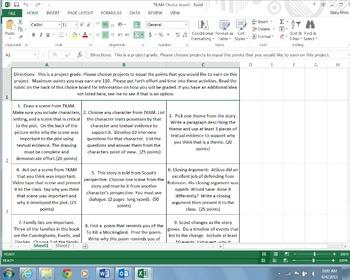 To Kill a Mockingbird Project Choice Board