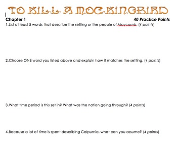 To Kill a Mockingbird: Question/Activities Pack