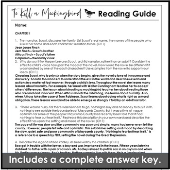 To Kill a Mockingbird Chapter Questions with Comprehension, Analysis & Inference