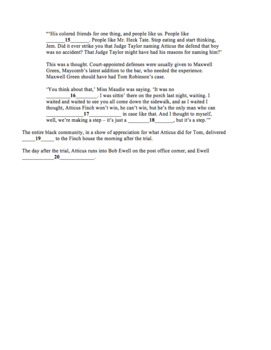 To Kill a Mockingbird by Harper Lee Chapters 20-22 Quiz with Answer Key