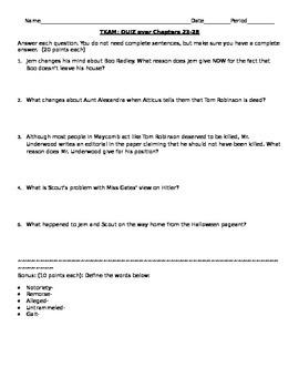 To Kill a Mockingbird Quiz- Chapters 23-27