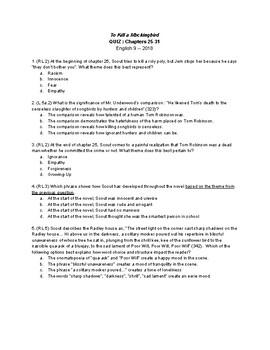 To Kill a Mockingbird Quiz : Chapters 25-31 (CCSS Aligned)