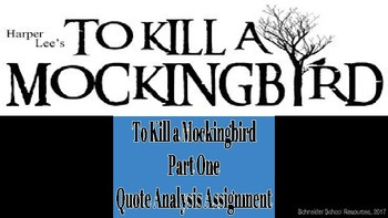 To Kill a Mockingbird Quote Analysis Assignment (Part One)