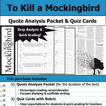 To Kill a Mockingbird - Quote Analysis & Reading Quizzes