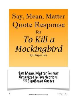 to kill a mockingbird quote response say mean matter