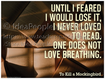To Kill a Mockingbird - Quote: Scout on Reading - POSTER 18x24 printable
