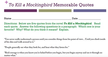 To Kill a Mockingbird Quote journal