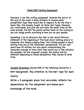 To Kill a Mockingbird RAFT Writing