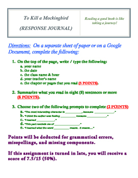 To Kill a Mockingbird (RESPONSE JOURNAL)
