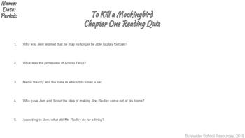 To Kill a Mockingbird Reading Quiz Chapter One