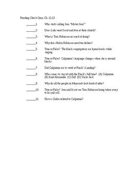 To Kill a Mockingbird Reading Check Quiz - Chapters 12-13