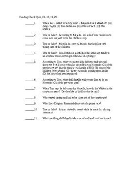 To Kill a Mockingbird Reading Check Quiz - Chapters 18-20