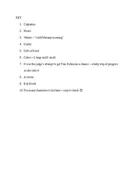 To Kill a Mockingbird Reading Check Quiz - Chapters 21-22