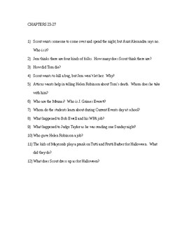 To Kill a Mockingbird Reading Check Quiz - Chapters 23-27