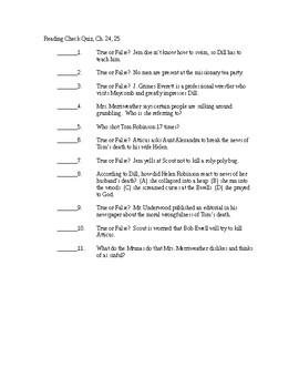 To Kill a Mockingbird Reading Check Quiz - Chapters 24-25
