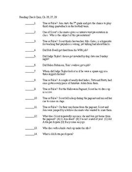 To Kill a Mockingbird Reading Check Quiz - Chapters 26-28