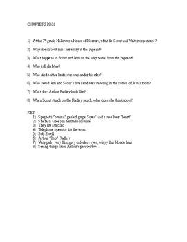 To Kill a Mockingbird Reading Check Quiz - Chapters 28-31