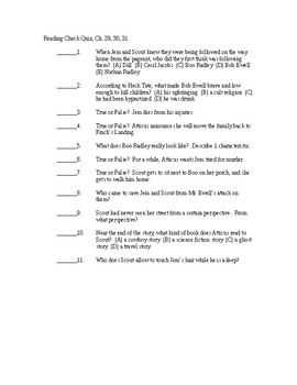 To Kill a Mockingbird Reading Check Quiz - Chapters 29-31