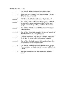 To Kill a Mockingbird Reading Check Quiz - Chapters 3-4