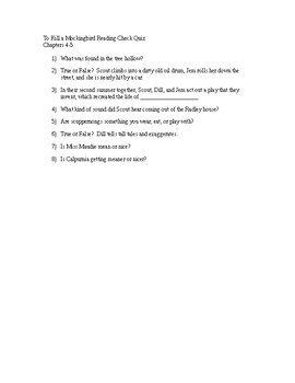 To Kill a Mockingbird Reading Check Quiz - Chapters 4-5