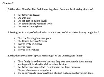 To Kill a Mockingbird: Reading Comprehension Questions