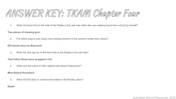 To Kill a Mockingbird Reading Quiz Chapter Four