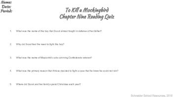 To Kill a Mockingbird Reading Quiz Chapter Nine