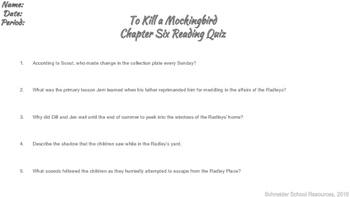 To Kill a Mockingbird Reading Quiz Chapter Six