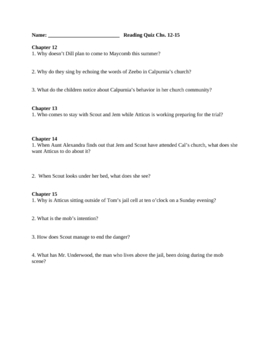 To Kill a Mockingbird Reading Quiz Chs. 12-15 (No Key)