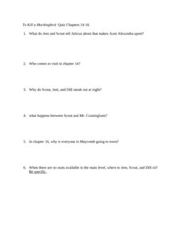 To Kill a Mockingbird Reading Quiz Chs. 14-16 (No Key)