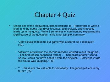 To Kill a Mockingbird Reading Quizzes