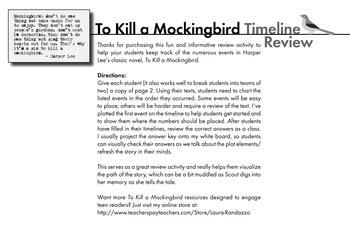 To Kill a Mockingbird, Review Game Worksheet of Timeline in Harper Lee's Novel