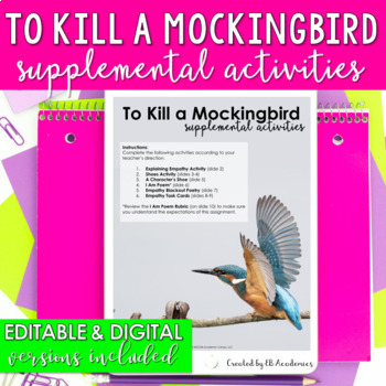 To Kill a Mockingbird SIX Supplemental Activities {EDITABLE Activities}