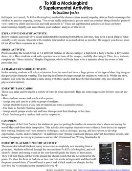To Kill a Mockingbird SIX Supplemental Activities {EDITABLE Activities}