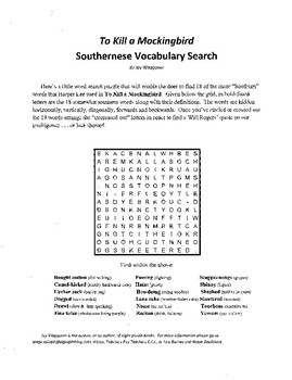 To Kill a Mockingbird,Southernese Vocabulary Search,Harper Lee