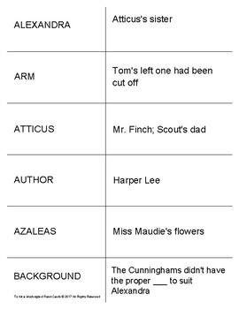 To Kill a Mockingbird Study Flash Cards