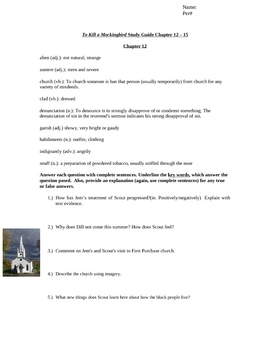 To Kill a Mockingbird Study Guide Chapters 12-15