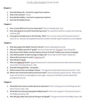 To Kill a Mockingbird Study Guide with Key